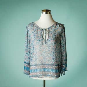Joie M Silk Vertigo Floral Print Tie Neck Top